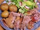 Рецепта Крехко печено агнешко бутче под фолио с марината и гарнитура от картофи и зелена салата за Великден и Гергьовден